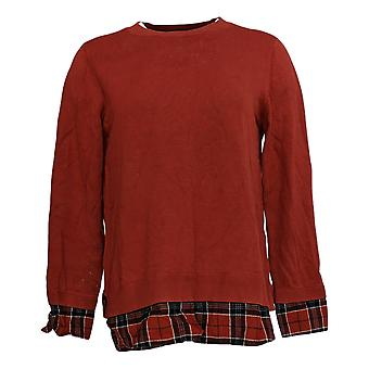 Joan Rivers Classics Collection Women's Plaid Detail Sweater Brown A366908