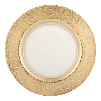 """13"""" Hand Crafted Gold Glass Authentic Leaf Round Charger Plate"""