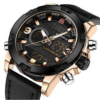 NAVIFORCE NF9097 אופנה גברים שעון תצוגה כפולה יוקרה עור רצועה שעוני ספורט
