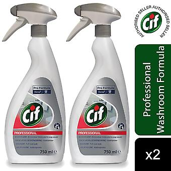 Cif Pro Formula Professional 2in1 Washroom Cleaner 750ml, 2pk