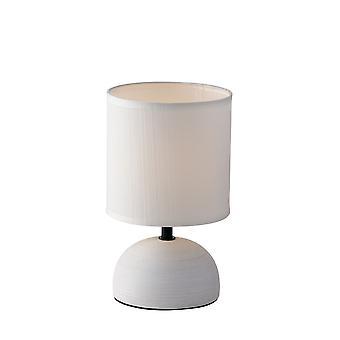 Keramische tafellamp met stoffen tint, wit, E27
