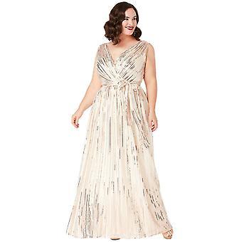 Plus size string sequin chiffon dress