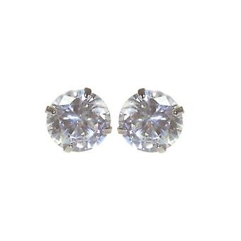 Sterling Silver Unisex Studs Earrings 2 Carat Swarovski Crystal - Clear
