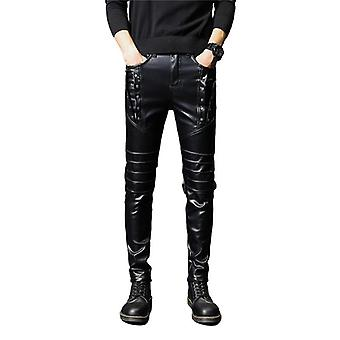 Men's Faux Leather Punk Style Skinny Zippers Night Club Pants