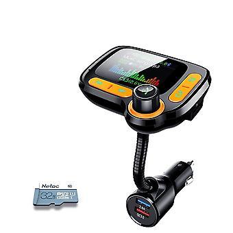 Mp3 Player Bluetooth Car Kit, Fm-lähetin värinäytöllä Aux Automaattinen musiikki