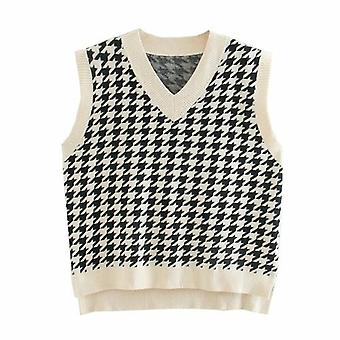 Women Houndstooth Vest Sweater