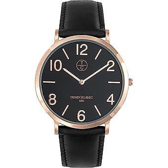 TrendyClassic - Wristwatch - Men - Lansen cuir - doré rose - CG1033-02