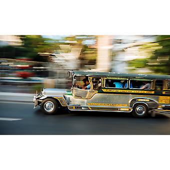 Jeepney moving on the road Manila Philippines Poster Print