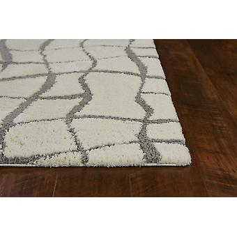 3'x5' Ivory Machine Woven Microfiber Abstract Design Shag Indoor Area Rug