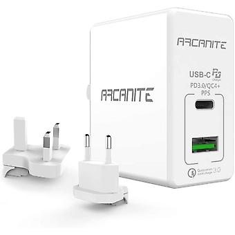ARCANITE Premium USB Wall Charger, USB-C PD 3.0/QC4+ PPS(30W) and USB-A QC 3.0(18W), for US/UK/EU