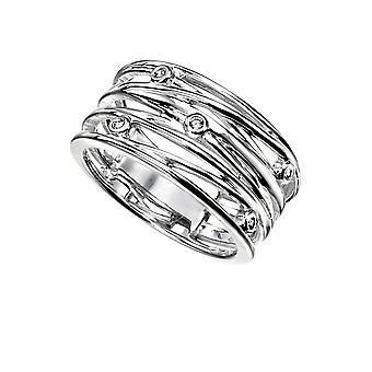 Elementer Sterling Sølv Ladies Indpakket Wire Style Lille Ring med CZ