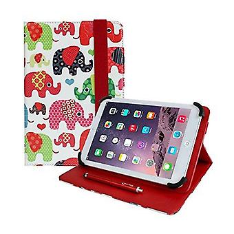 Emartbuy universal 7 inch - 8 inch multi coloured elephants multi angle folio wallet case cover with