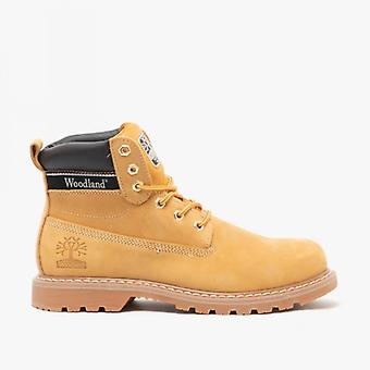 Woodland Glenn Mens Leather Lace-up Goodyear Welted Boots Honey