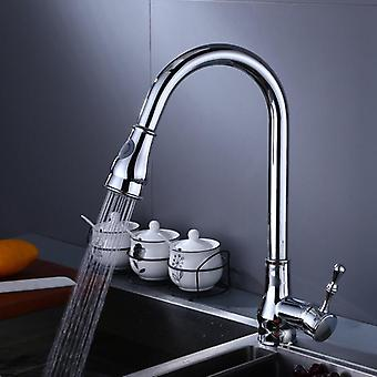 Swivel Kitchen Sink Pull Out Spray Faucet With Plate