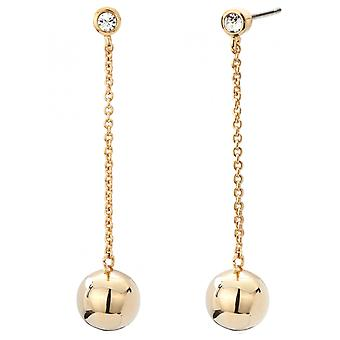 Traveller Drop Earrings Pierced Earrings Gold plated with Crystals from Swarovski - 50mm - 157173
