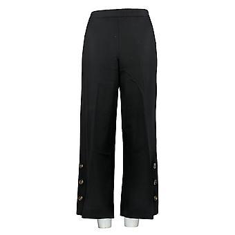Isaac Mizrahi Live! Pantaloni donna Pantaloni caviglia W/ Snap Polsini Nero A375760