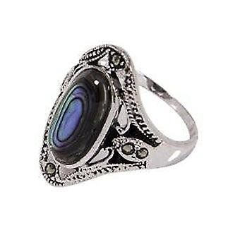 Antique Style Sterling Genuine Abalone Genuine Marcasite Ring