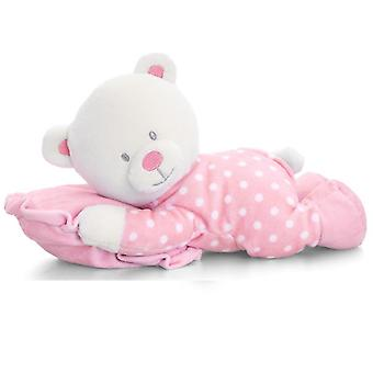 Juguetes de quilla bebé oso de peluche en almohada grande 30cm rosa