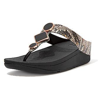 Fitflop Leia™ exóticas sandalias post de dedo del pie en negro