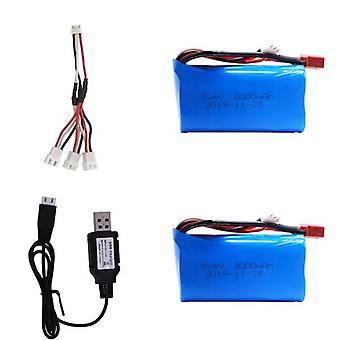 Lipo Battery 18650 For Q46 Wltoys 1042 Car Spare Parts With Charger, T-plug