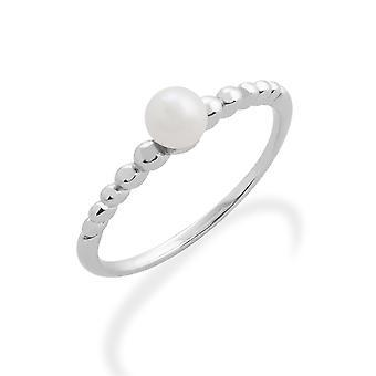 Gemondo 925 Sterling Silver 0.39ct pärla stapelbar månads Ring