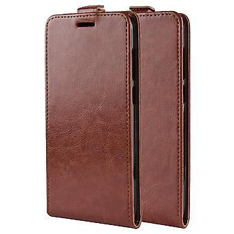 Leather Folio Case for Motorola Moto Edge - Brown