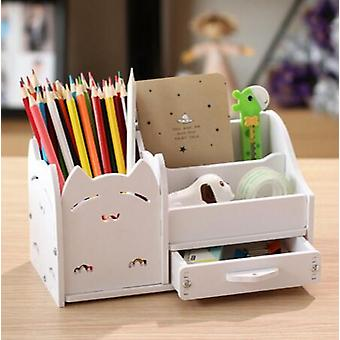 Multi - Functional Desktop Wood Pen Holder