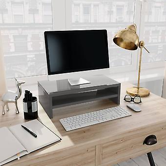 vidaXL Monitor Stand Korkea kiilto Harmaa 42×24×13 cm Lastulevy