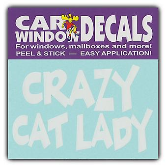 """Decal, Vindue Decal, Crazy Cat Lady, 4,5"""" Bred"""
