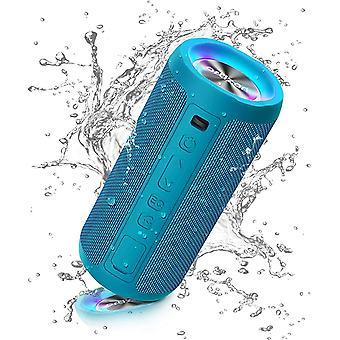 Bluetooth Lautsprecher mit Licht, Tragbarer Bluetooth Box mit IPX7 Wasserschutz, Dualen