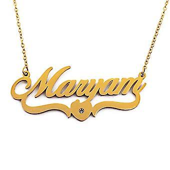 Kigu Maryam - Necklace with custom name, heart shape, gold-plated