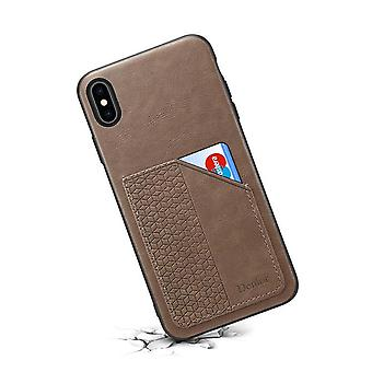 Wallet leather case card slot for iphone x/xs khaki on805