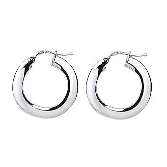 Jewelco London Ladies Rhodium Plated Sterling Silver # Square Tube Polished Hoop Earrings 22mm 4mm