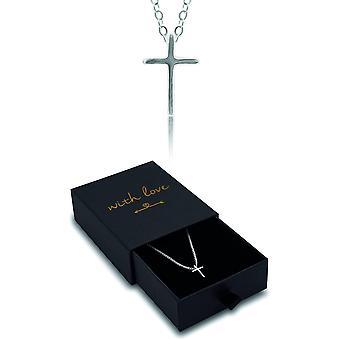 Minimal Kreuzkette Silberkette 925 mit Geschenkbox für Frauen, für Herren, Kreuzanhänger, Geschenk