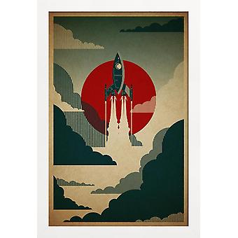 JUNIQE Print - Podróż - Statki kosmiczne & Rockets Plakat w kolorze Niebieskim & Szarym