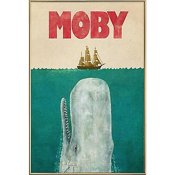 JUNIQE Print - Moby - Whale poster in blue & red
