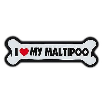 """المغناطيس ، العملاقة حجم الكلب العظام ، وأنا أحب بلدي Maltipoo ، 10 """"X 3"""""""