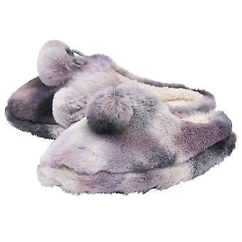 Dunlop - ladies lottie slippers with pom pom