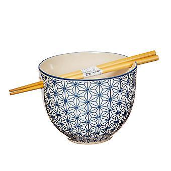 Sass & Belle Sashiko Pattern Noodle Bowl with Chopsticks