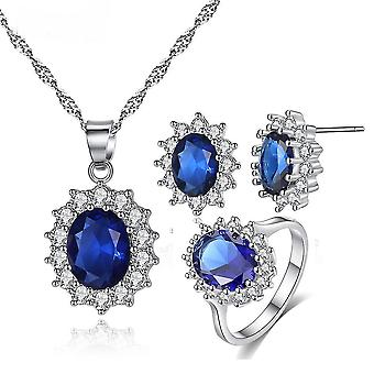 3pcs Jewelry Set Sunflower Princess Micro Inlaid Zircon Women Necklace Earrings Ring For Wedding