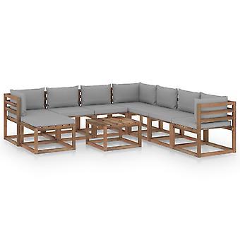 vidaXL 9 pcs. Garden Lounge Set with Cushion Grey