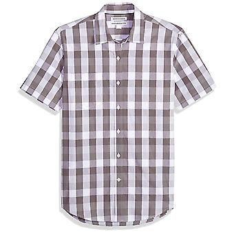 Essentials Men's Slim-Fit Short-Sleeve Casual Poplin Shirt, grau Check, groß