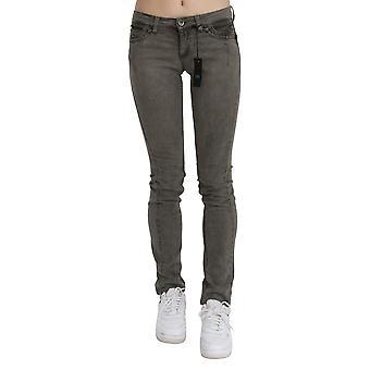 Gray low waist skinny denim cotton jeans