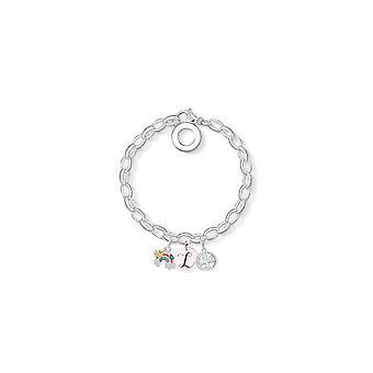 Rainbow Charm Armband täckt med kristaller från Swarovski - Initial L