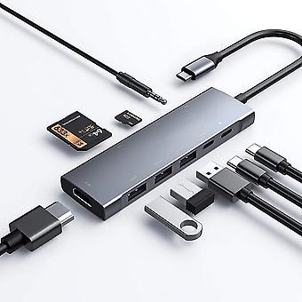 9 em 1 Adaptador USB C com 4k Hdmi Rj45 Ethernet USB 3.0