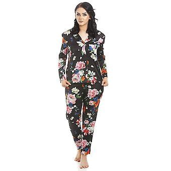 Camille Womens Long Sleeve Floral Satin Pyjama Set Pink