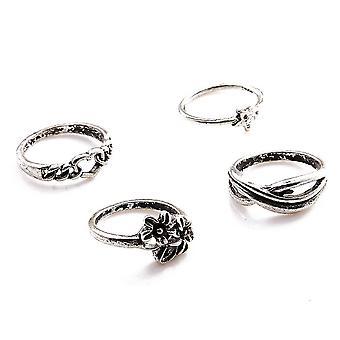 Conjunto de anel de dedo knuckle de 4 pcs