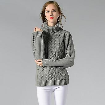 Women Sweater Twisted Flowers Knitted Thicken Turtleneck Pullovers Long Sleeve