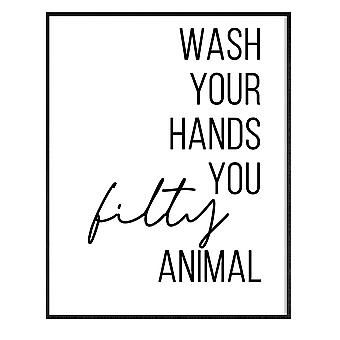 GNG Funny Bathroom Wall Art Quotes Posters Decor Inspirational - A3 - WASH YOUR TROUBLES AWAY