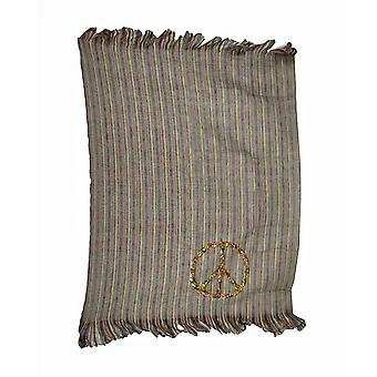 Colorful Shiraleah Peace Sign Striped Throw Blanket